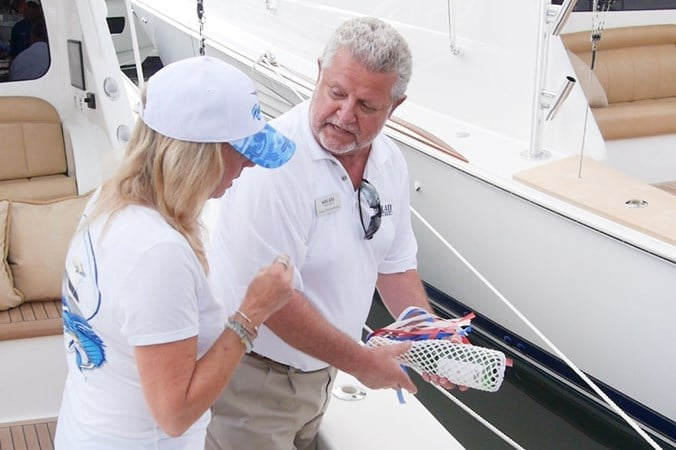 Galati Yacht Sales broker assisting customer