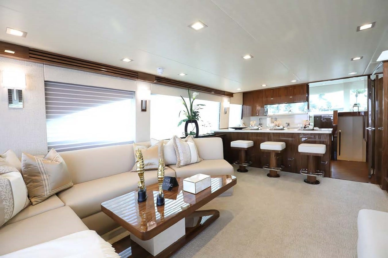 Viking motor yacht interior view