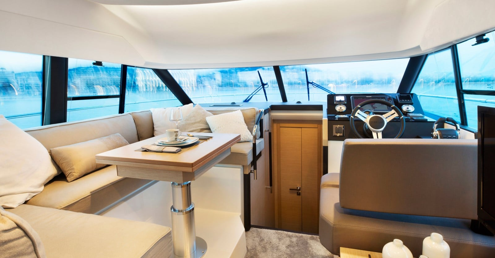new prestige 420 flybridge yacht dinette