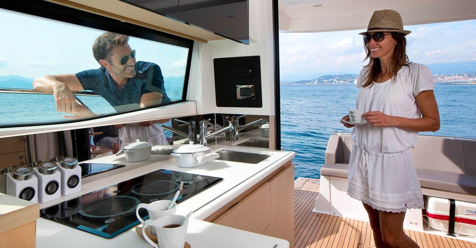 new prestige 420 flybridge yacht galley