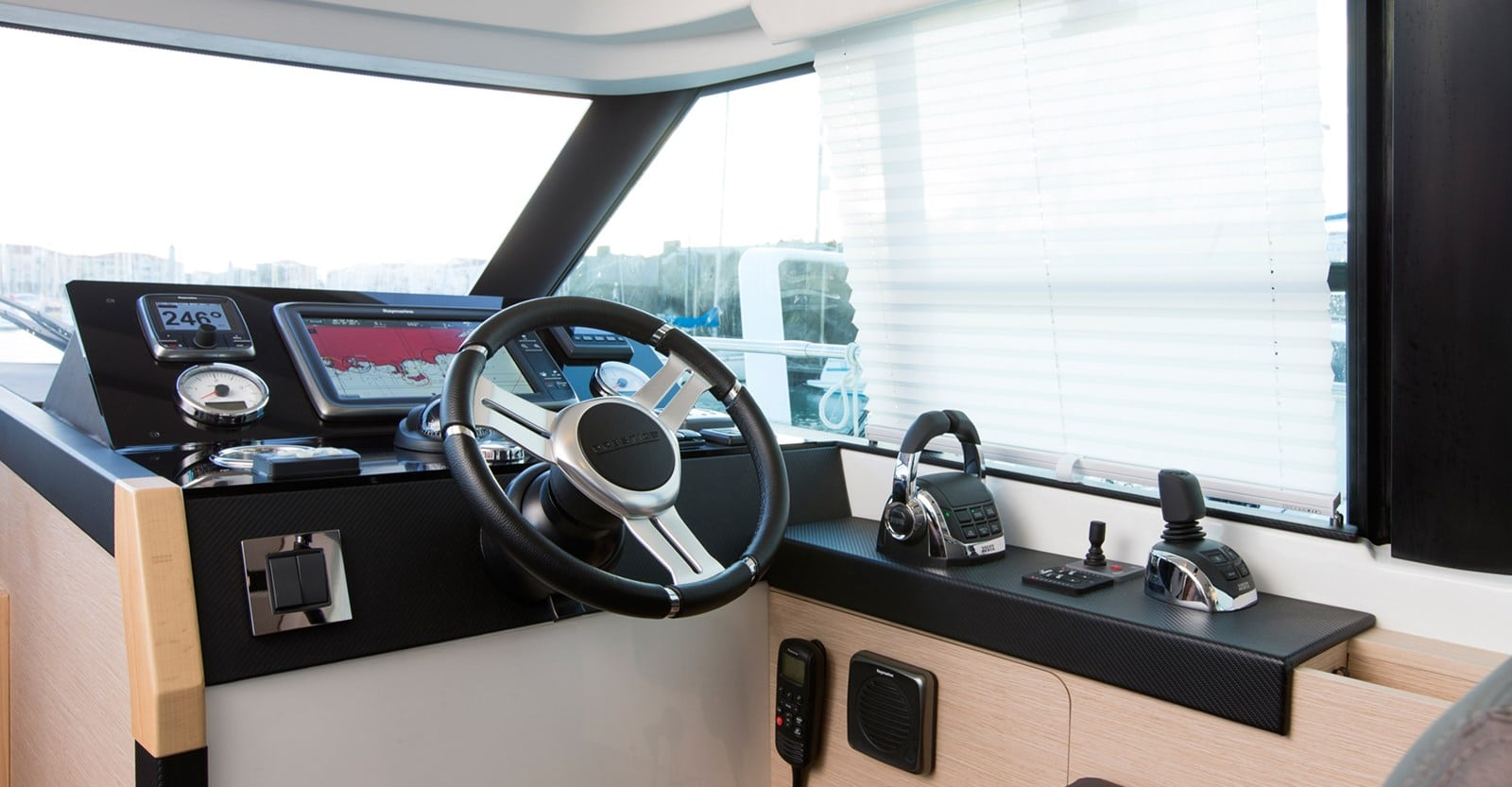 new prestige 420 flybridge yacht helm