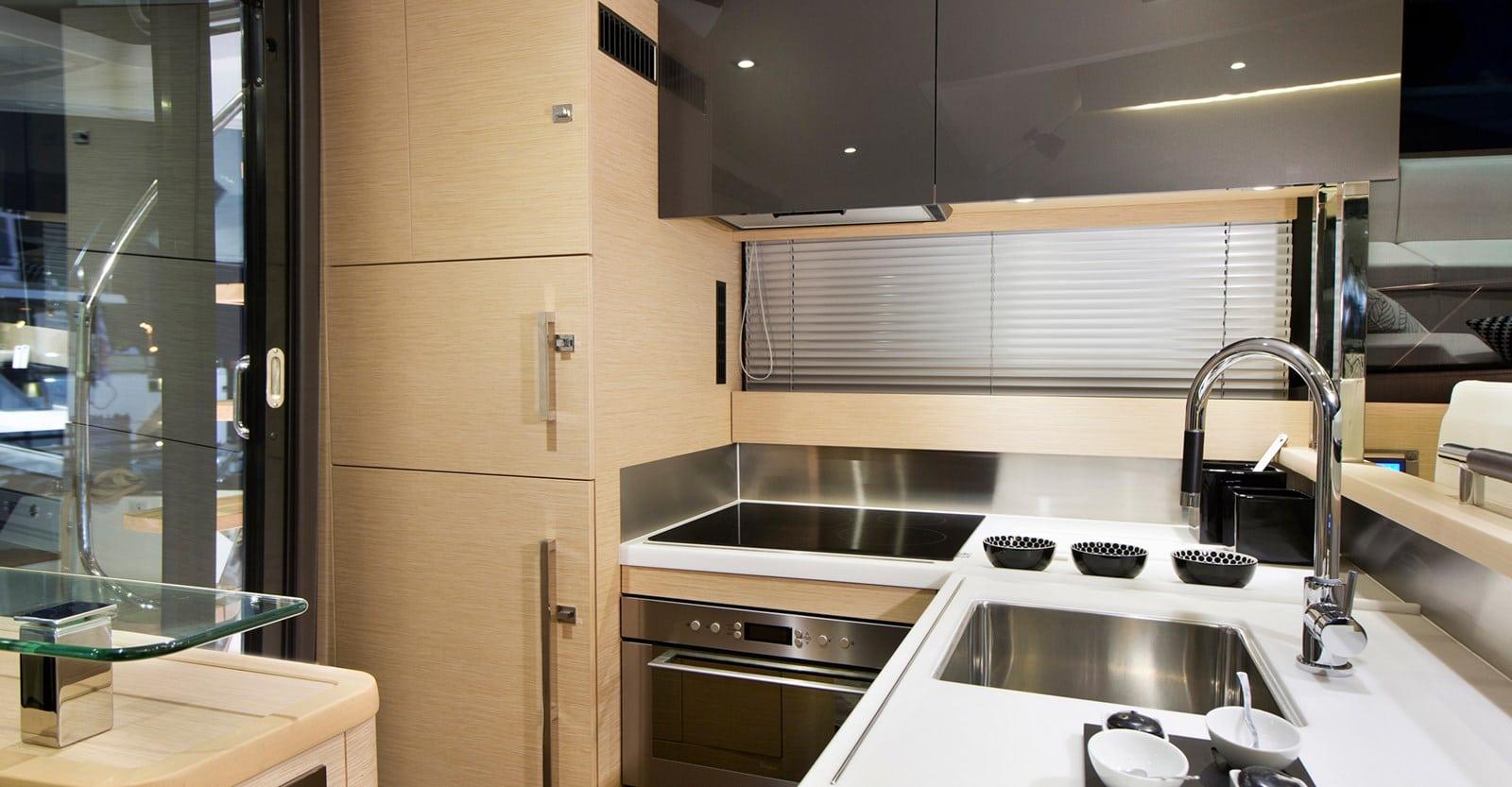 new prestige 500 flybridge yacht galley