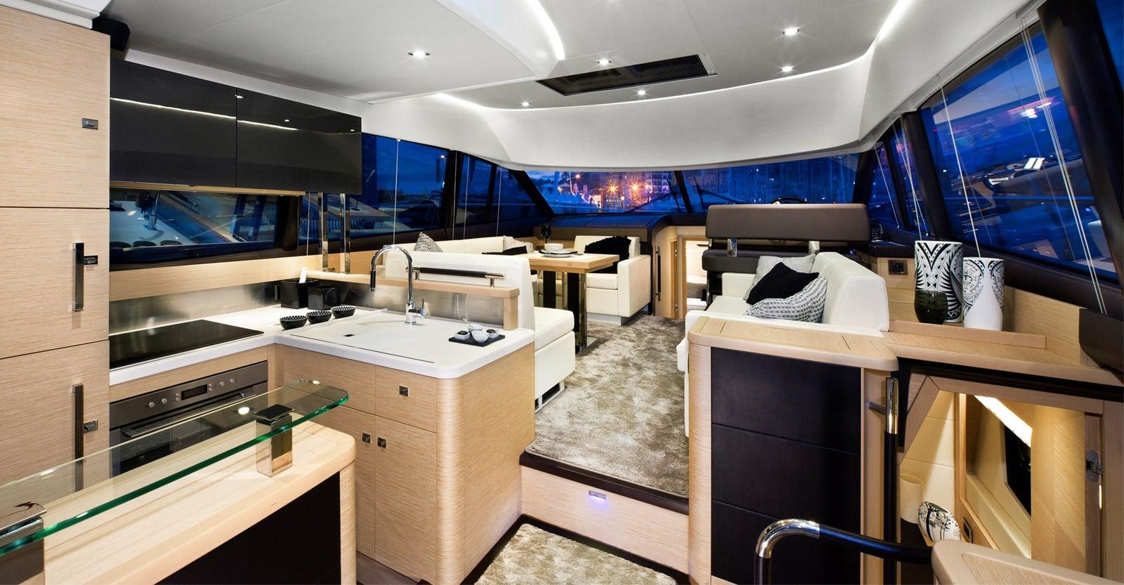 new prestige 500 flybridge yacht salon