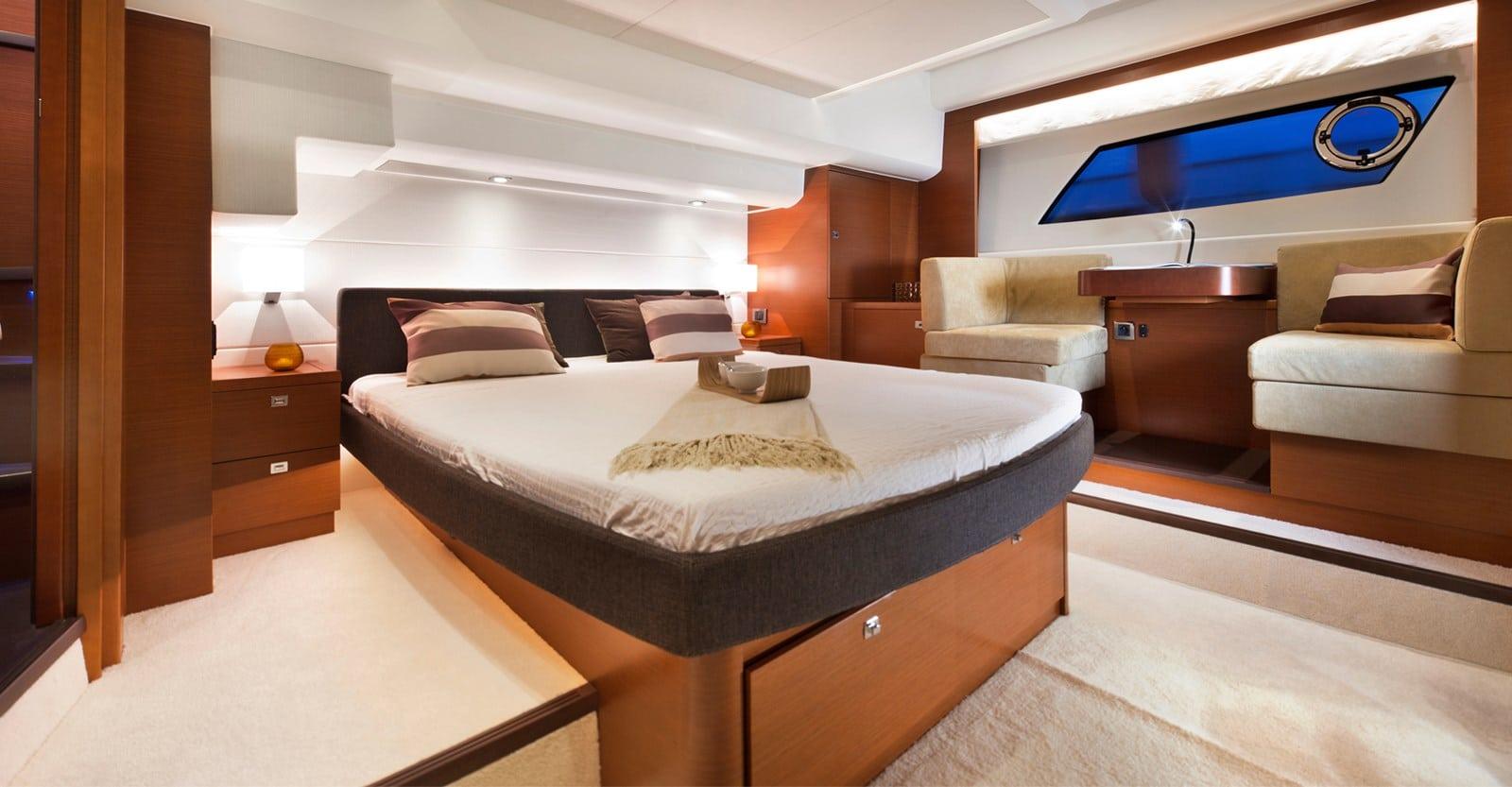 new prestige 560s yacht master stateroom