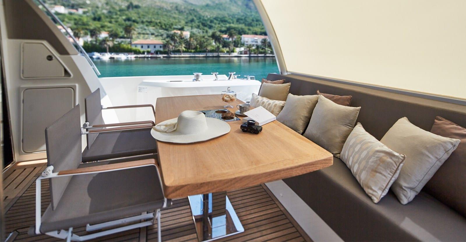 new prestige 680 yacht aft seating