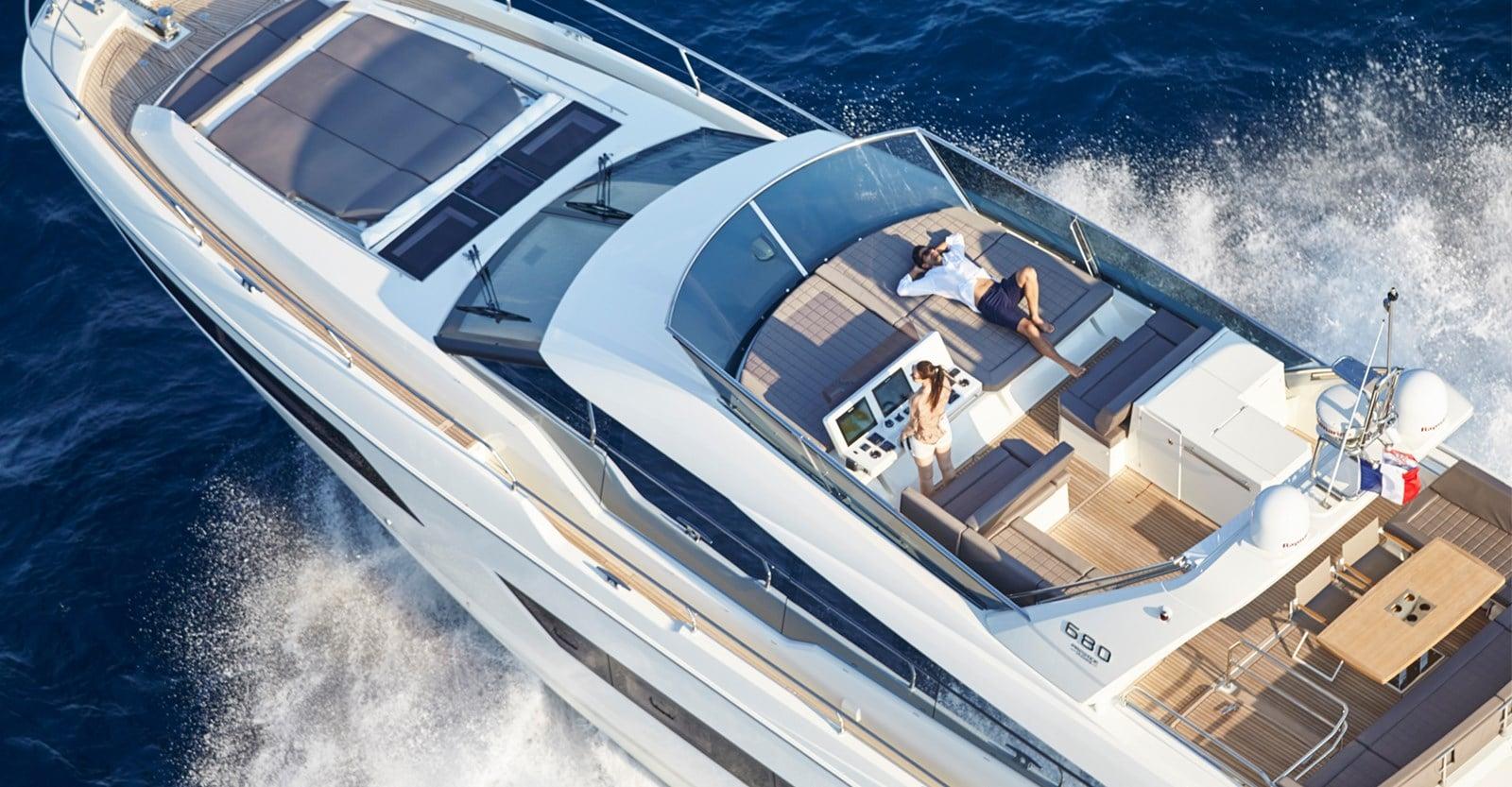 new prestige 680 yacht over head view