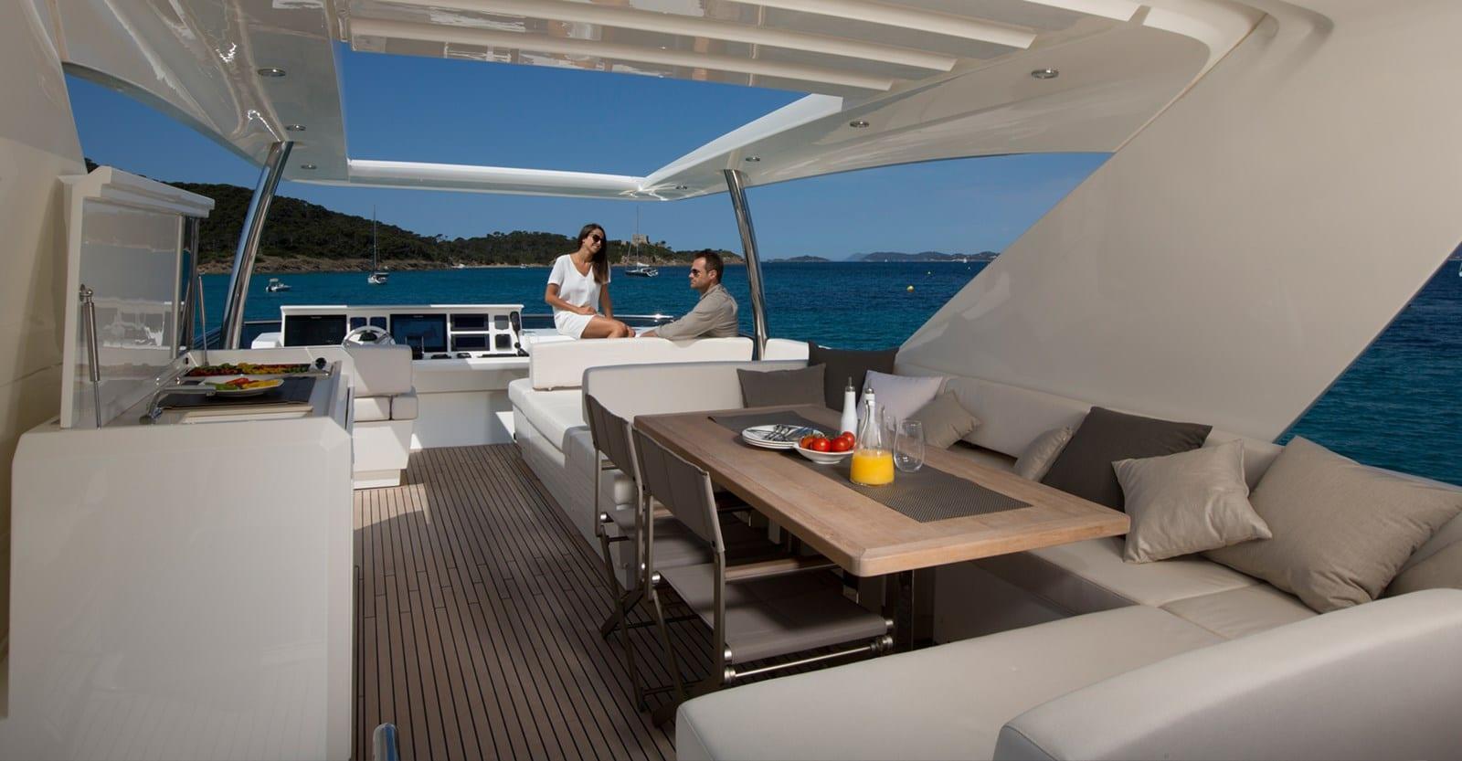 new prestige 750 yacht bridge view