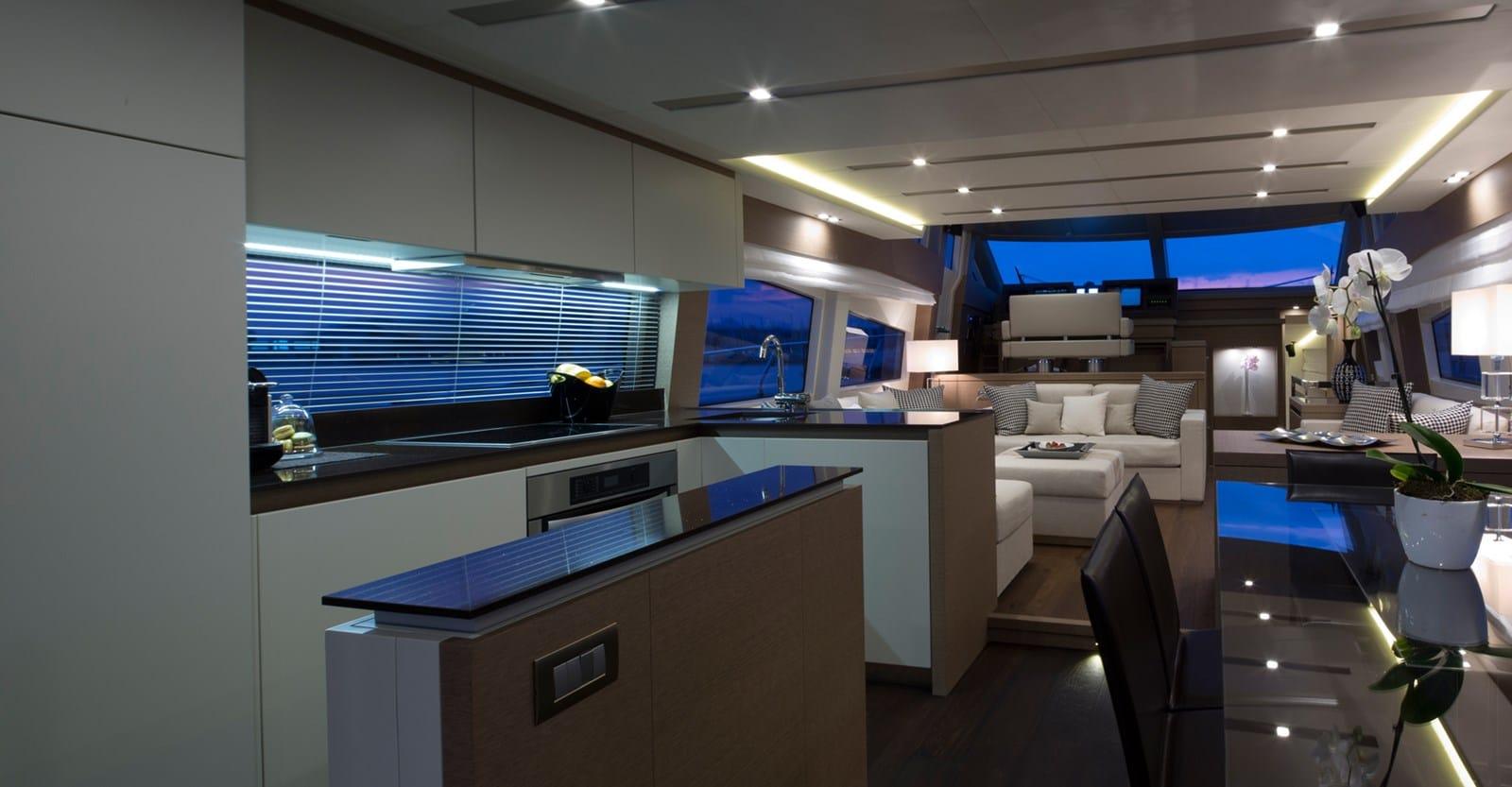 new prestige 750 yacht galley