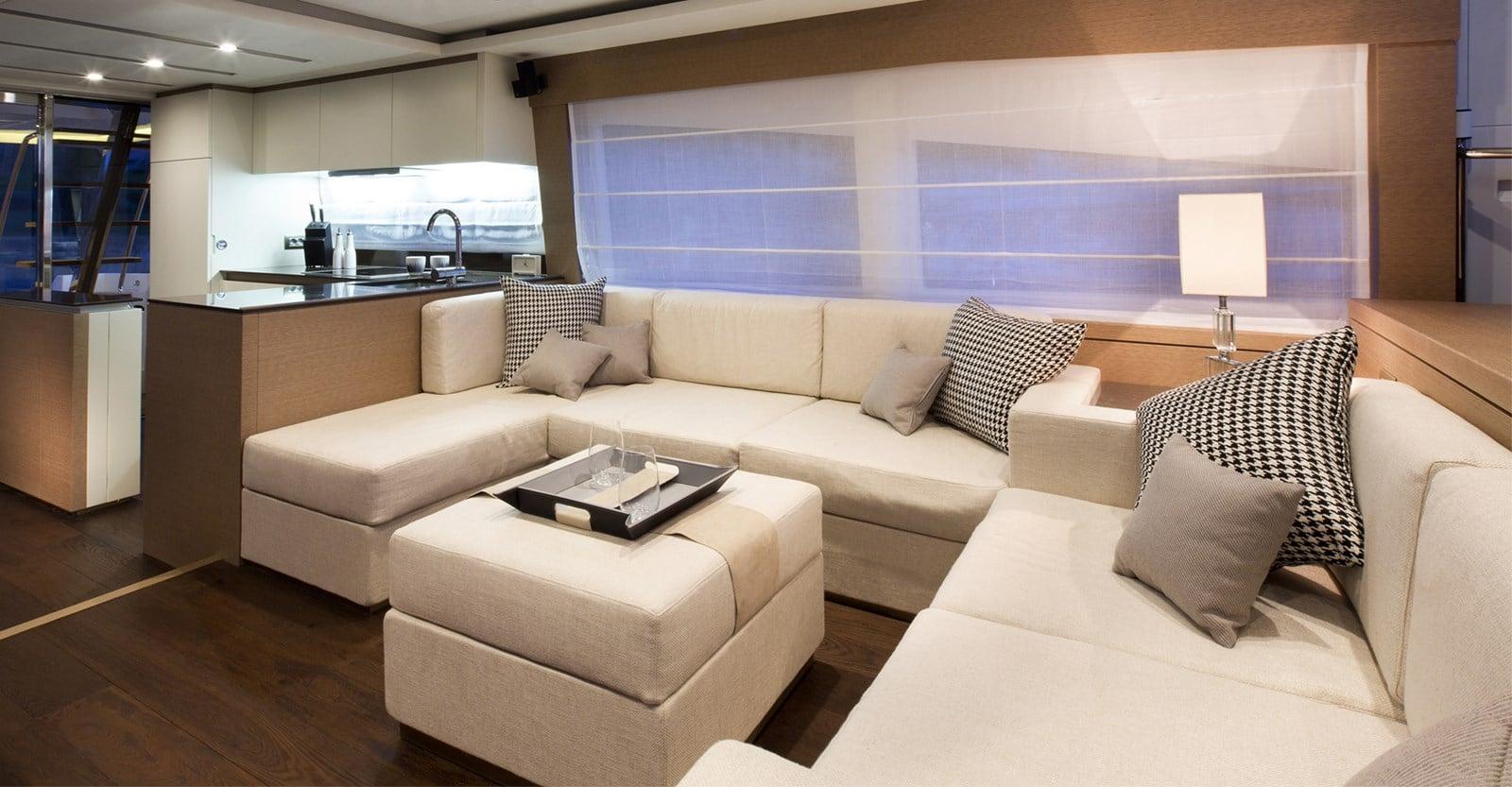new prestige 750 yacht salon seating