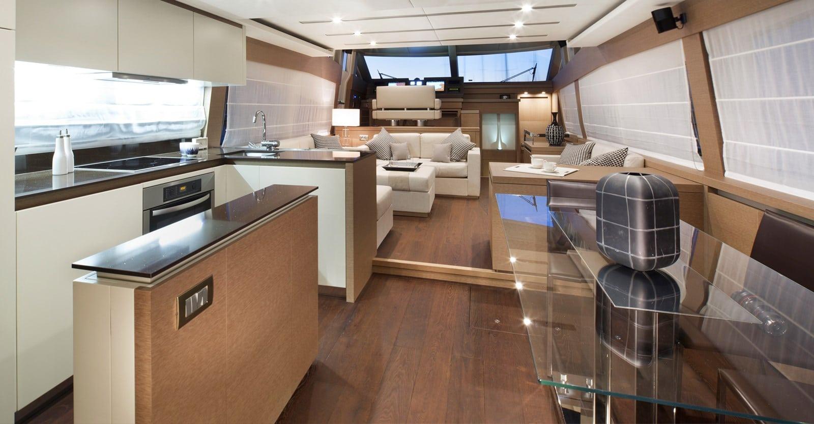 new prestige 750 yacht salon view