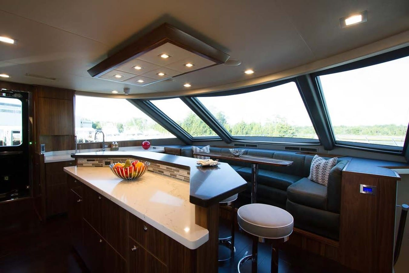 new viking 93 motor yacht galley seating