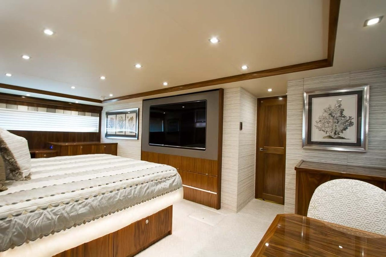new viking 93 motor yacht master stateroom entertainment