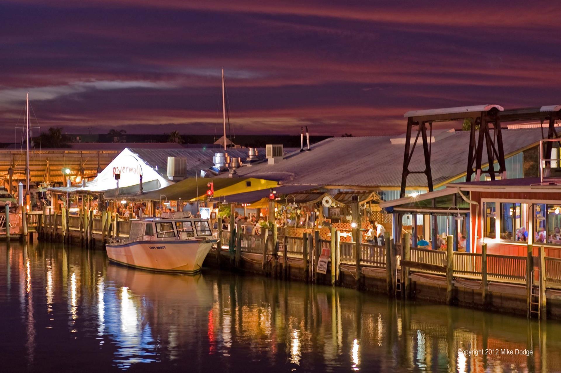 Night time Naples docks
