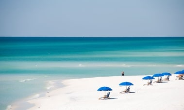 Beach view umbrellas