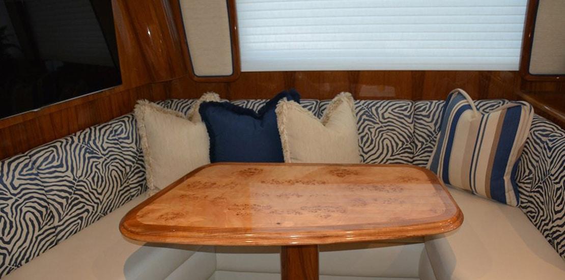 viking 62 enclosed bridge yacht dinette