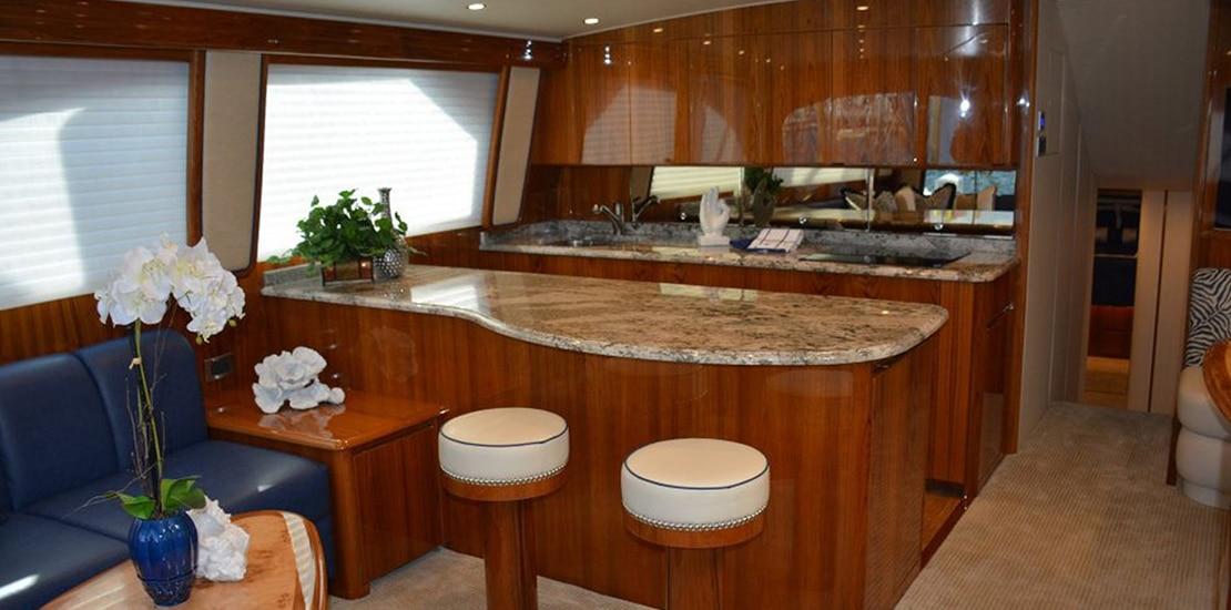 viking 62 enclosed bridge yacht galley