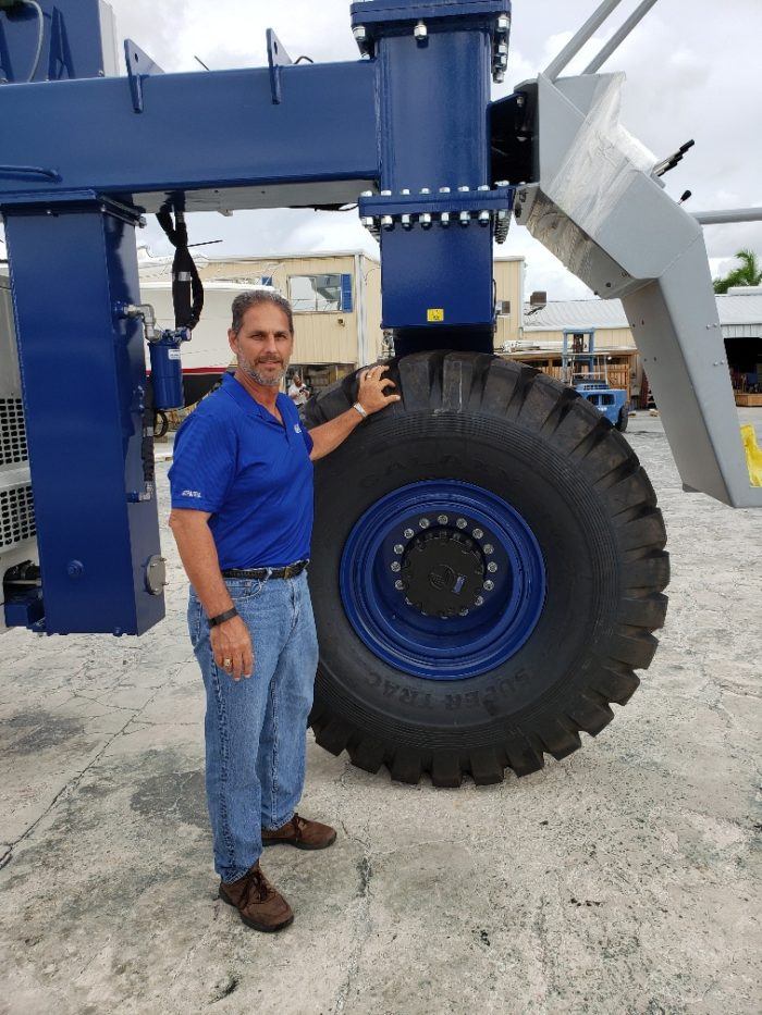 Mike Galati with new Marine Travelift at the Anna Maria Galati Service Yard