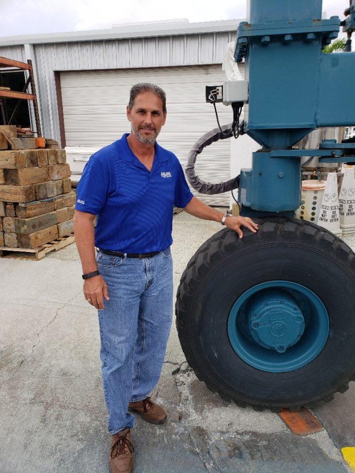 Mike Galati with old Marine Travelift at the Anna Maria Galati Service Yard