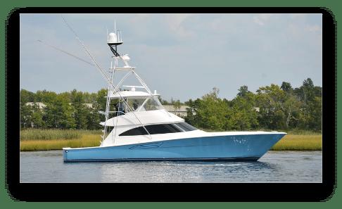 New in-stock Galati Yacht Sales' viking profile shot on the water
