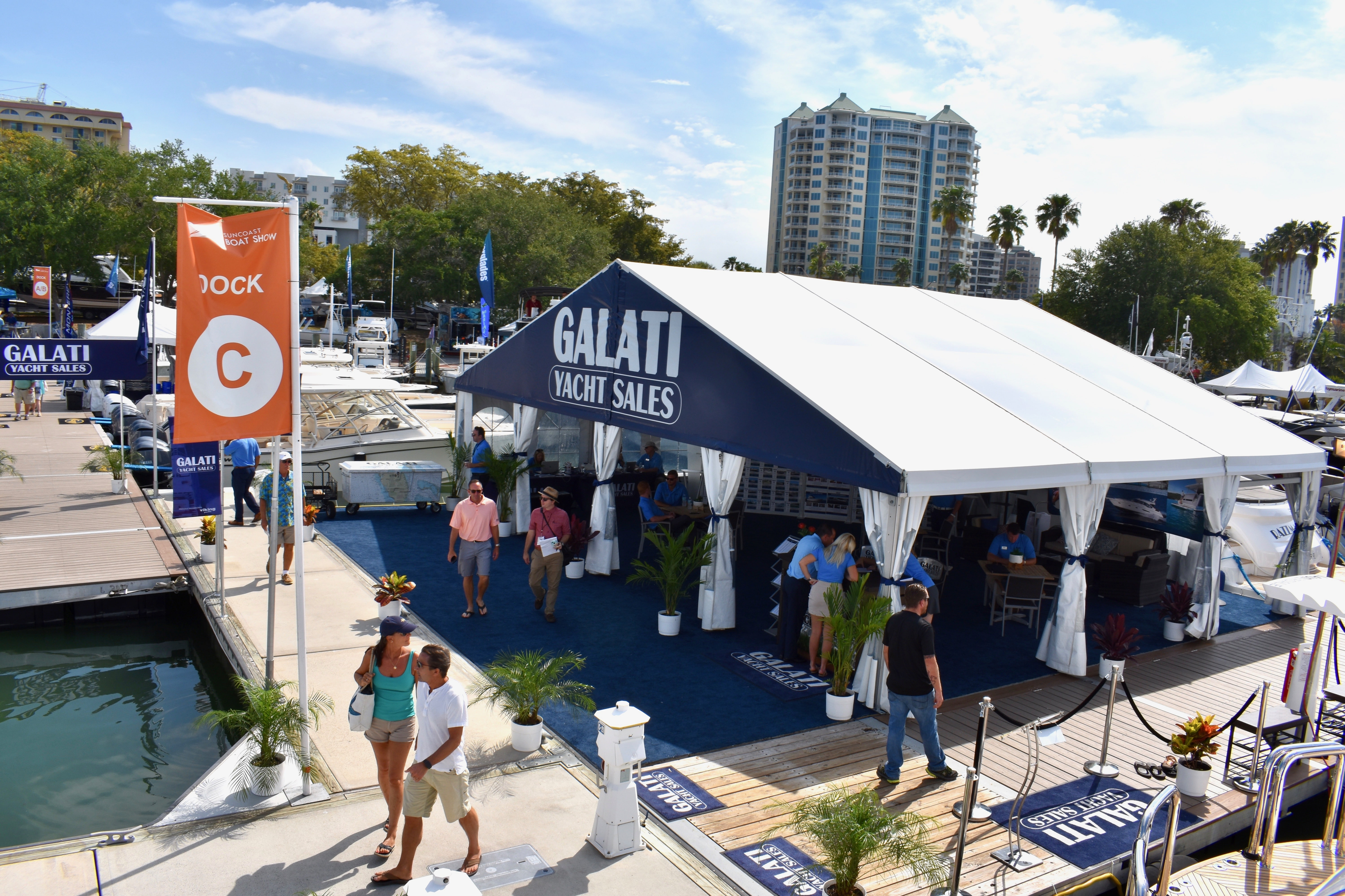 Galati Yacht Sales tent at the Suncoast Boat Show
