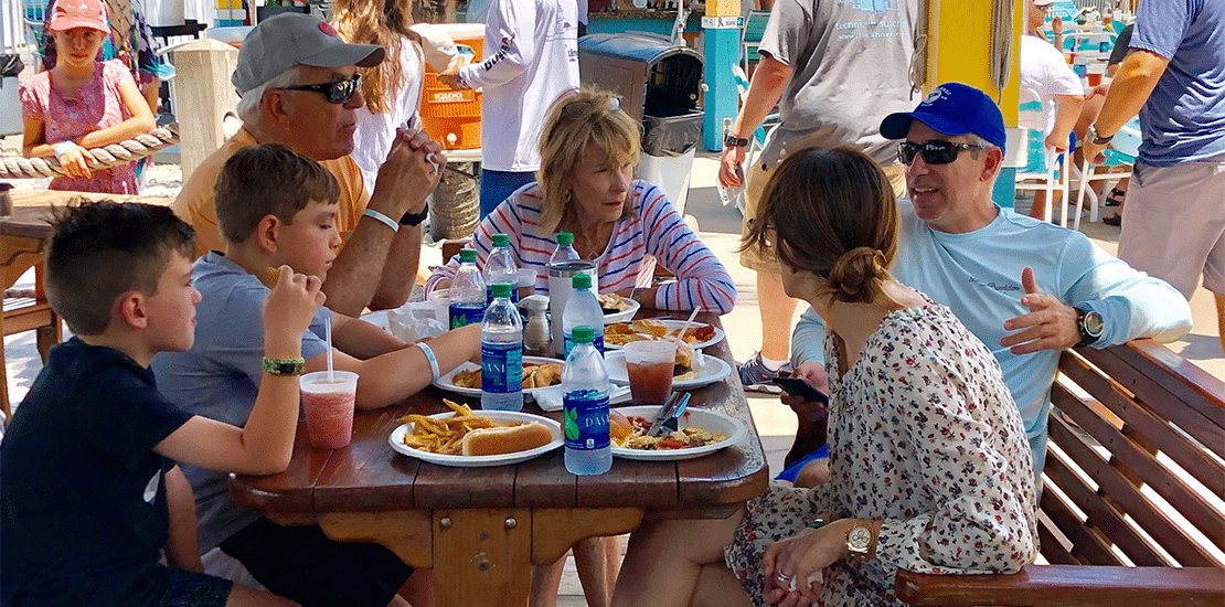 Family eating lunch at Viking Key West Challenge