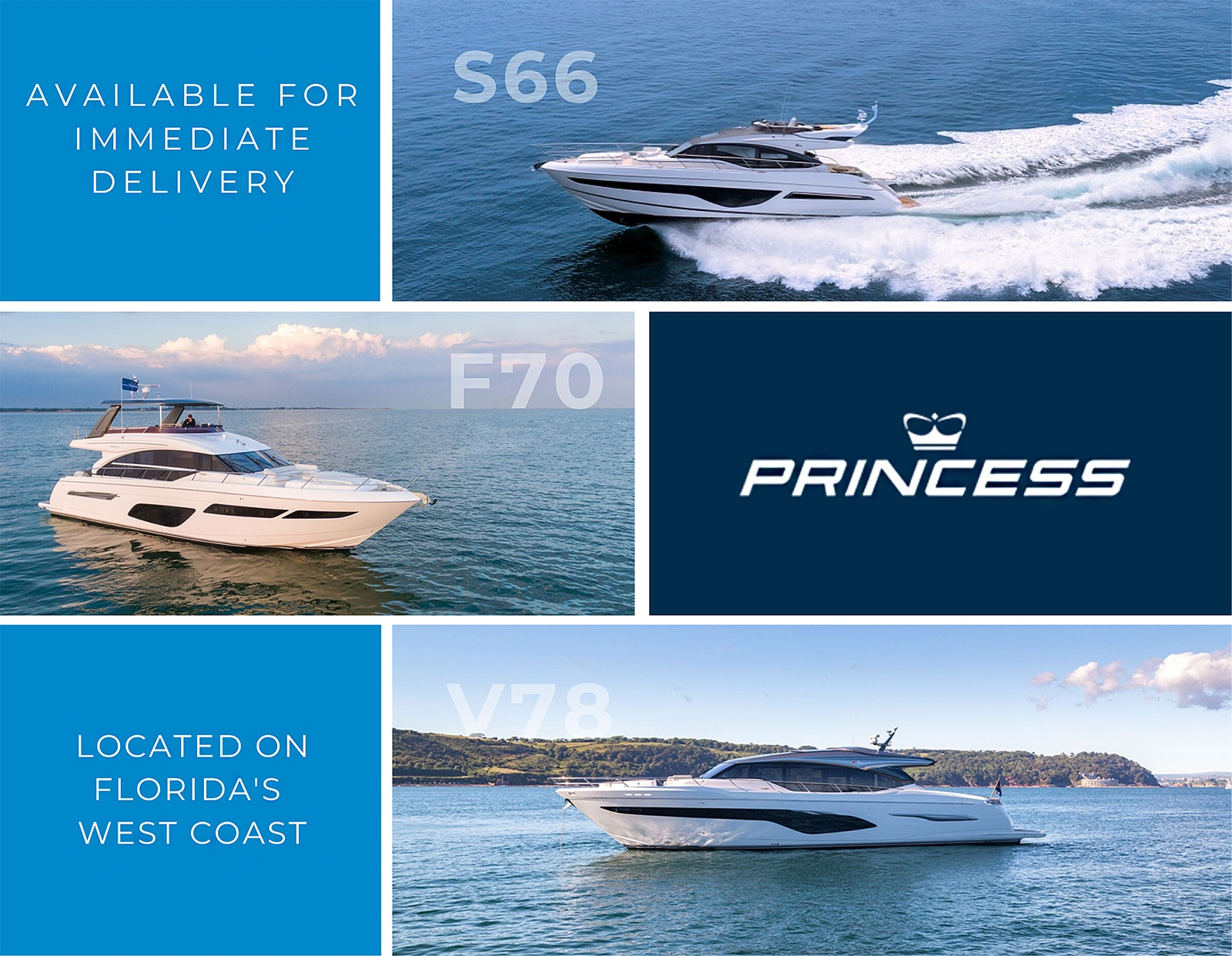 Available Princess Yachts on FL's West Coast...