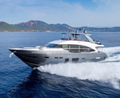 Princess motor yacht at a high speed in the water