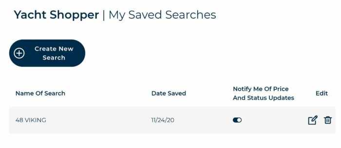 Saved search in yacht shopper