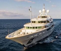 Benetti superyacht portrayed head on coasting through the water
